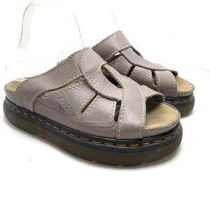 DR MARTENS Genuine Leather Slides Y2K Chunky Sole Dusty Purple Sandals sz 8